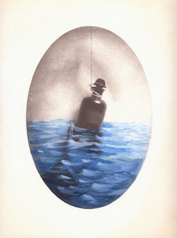 Message in a Bottle. Watercolor and gouache on Salt Print, 2006.